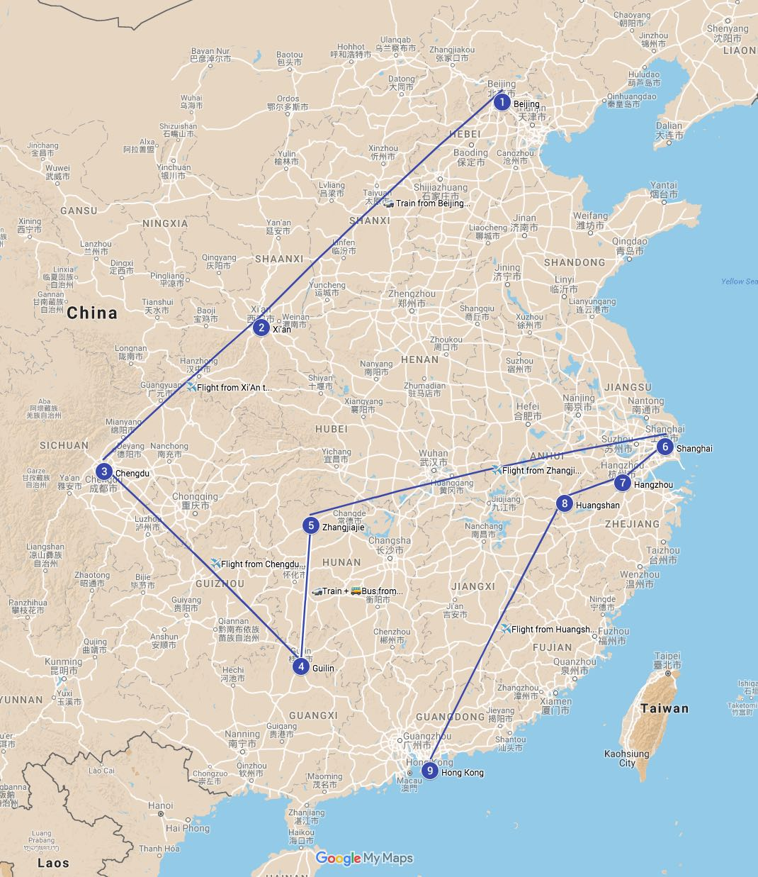 China itinerary