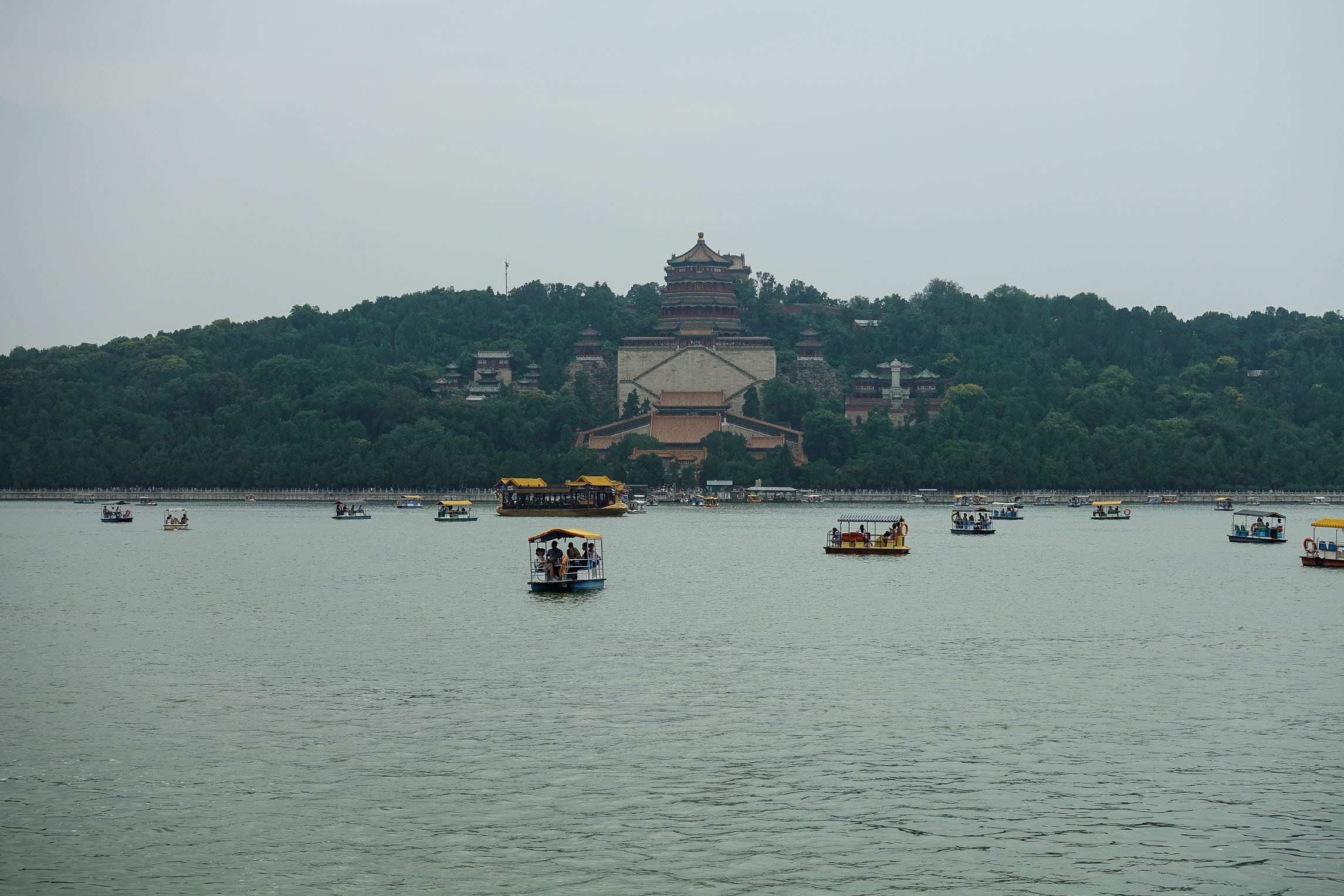 Riding a boat to the Summer Palace