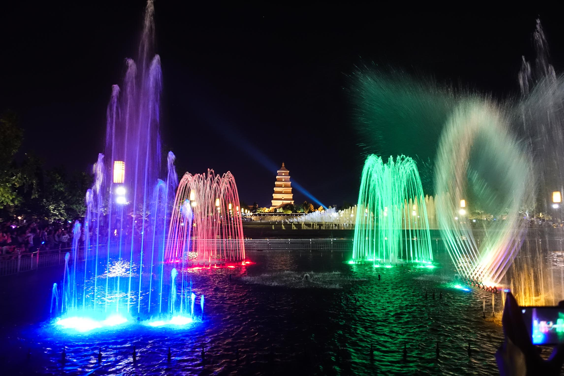 Musical fountains in front of the Giant Wild Goose Pagoda