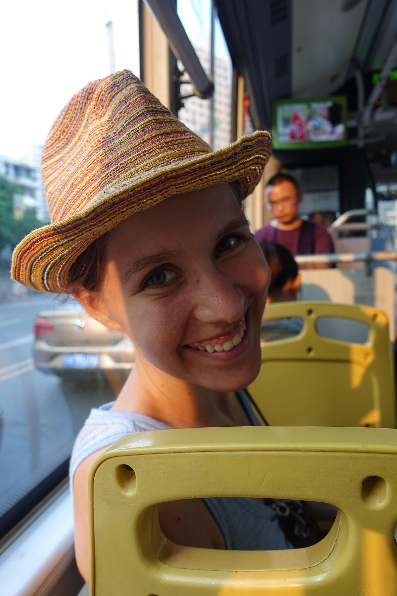 Petra enjoying the bus
