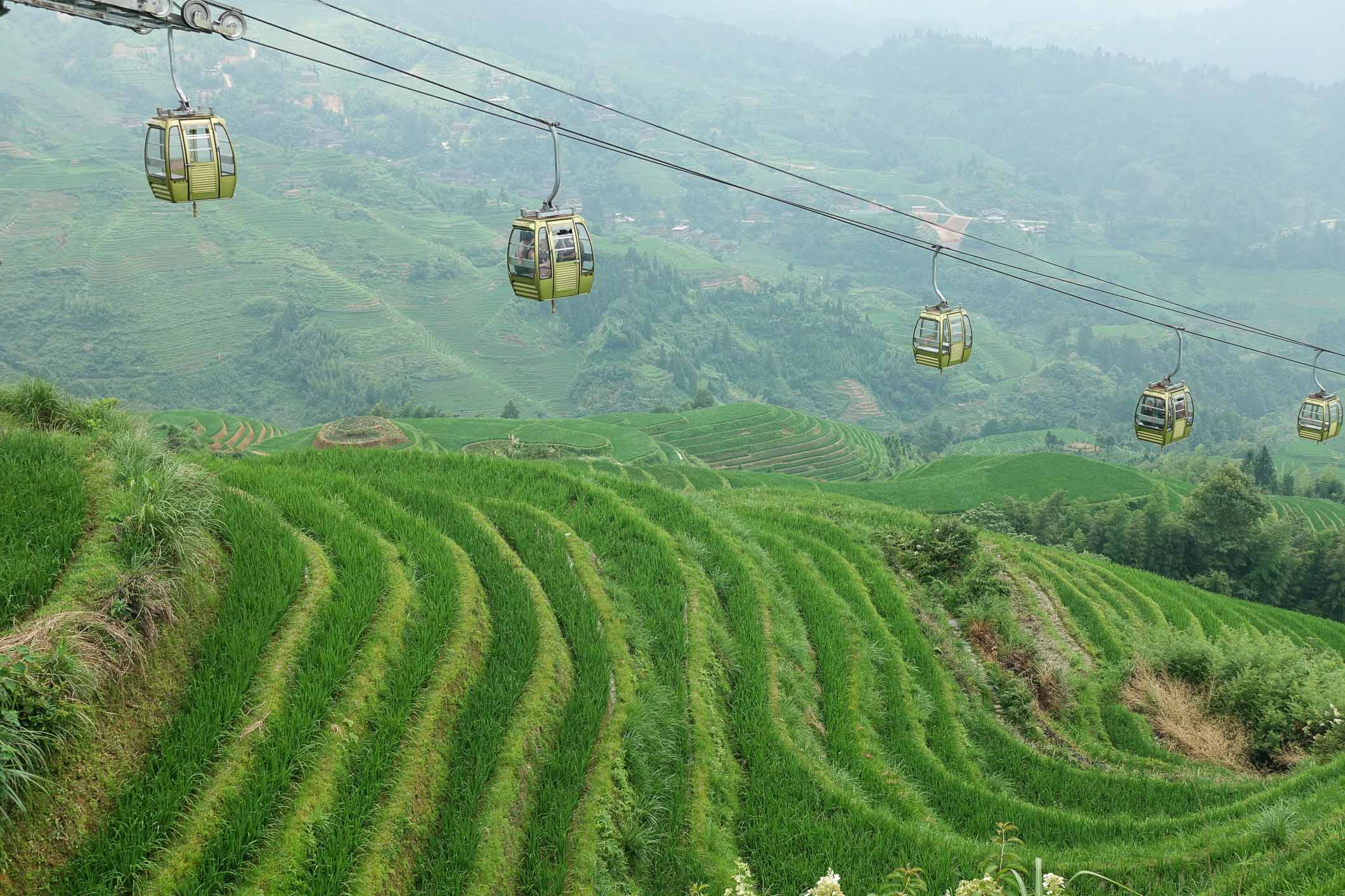Gondola to take us up to the rice fields