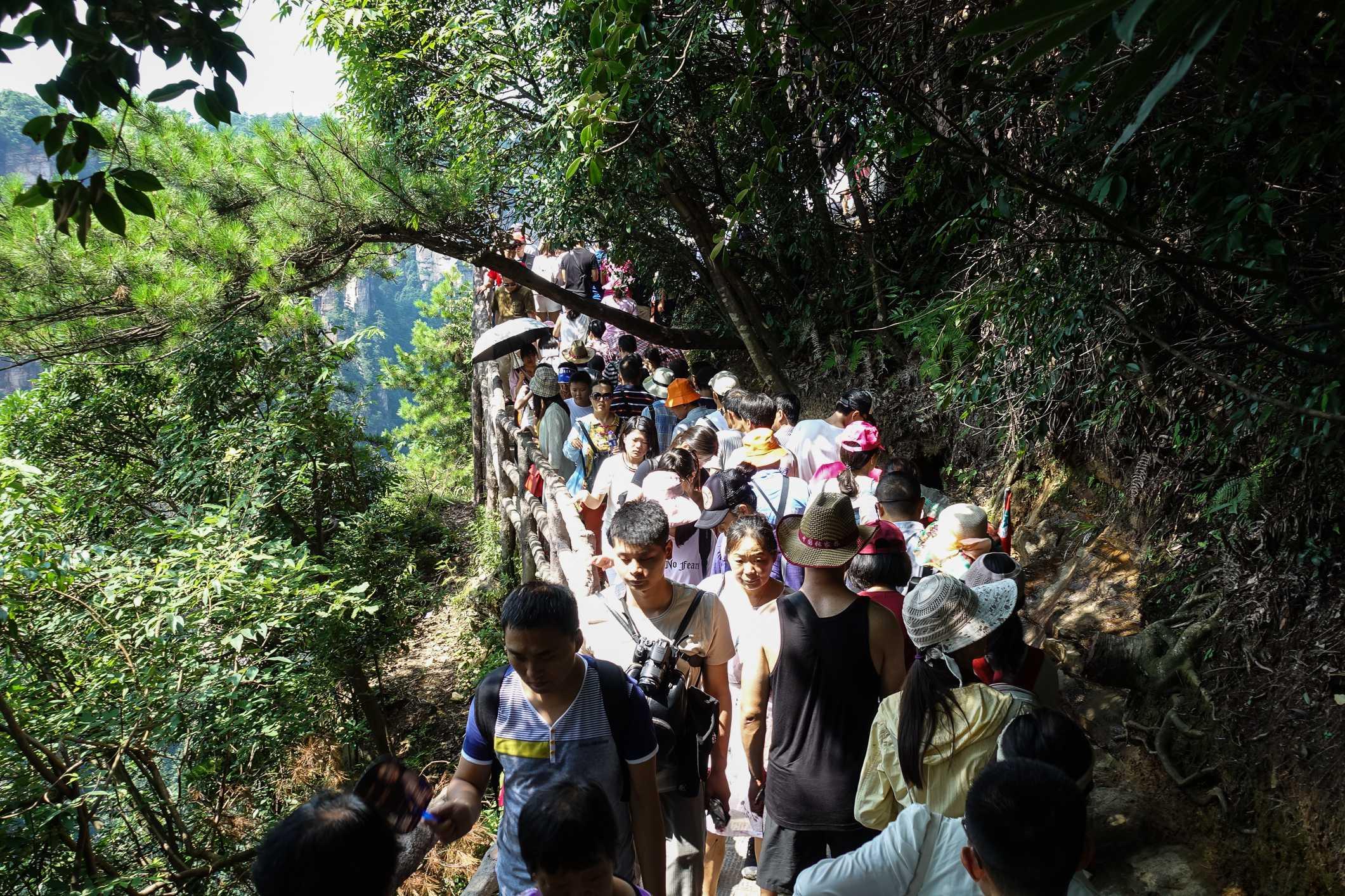 Crowds in Zhangjiajie National Forest Park