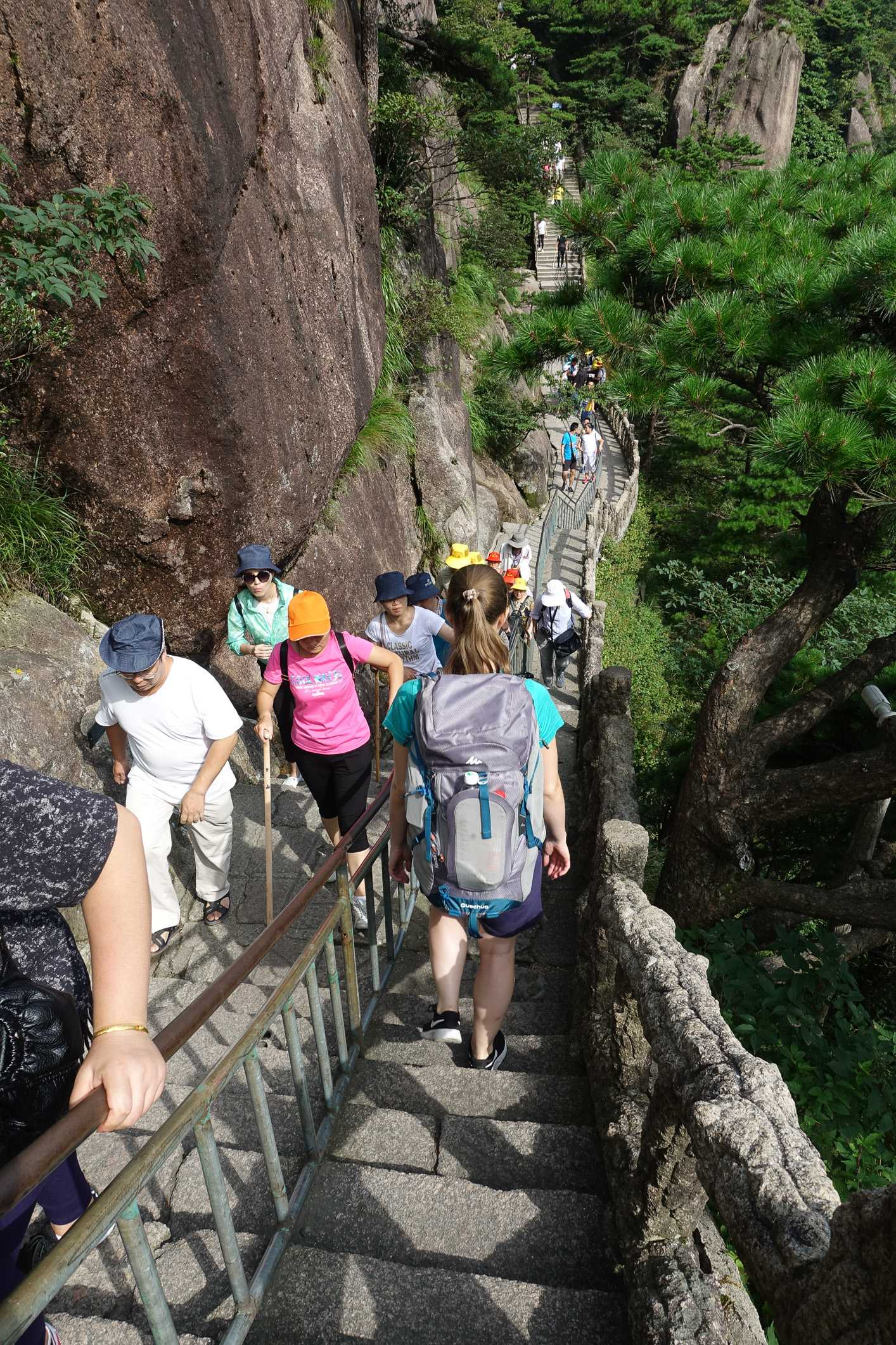 Hiking on Huangshan Mountain to our Hotel