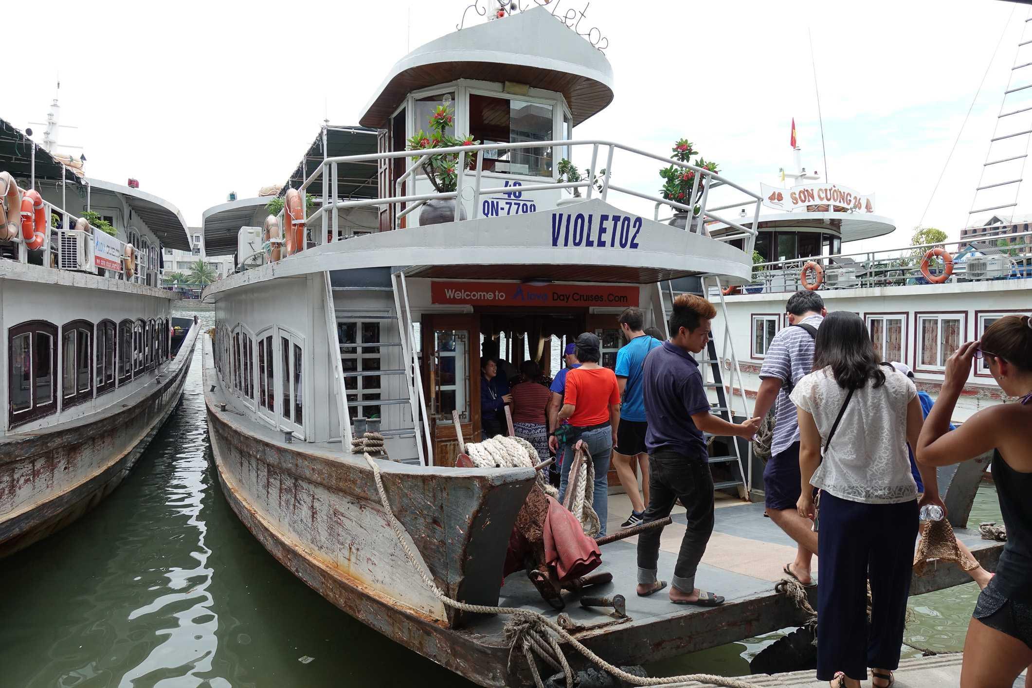 Boarding the ship in Ha Long Bay