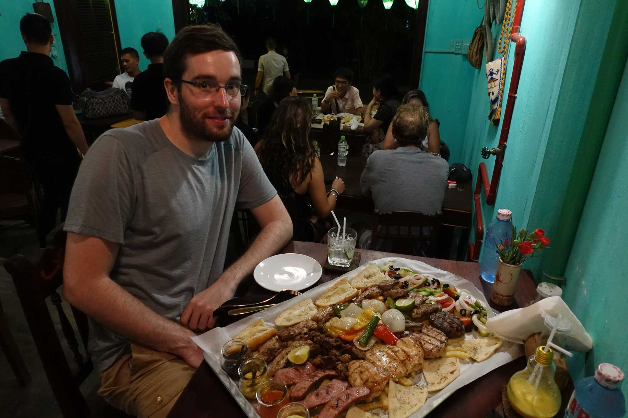 Eating Greek food in Hoi An